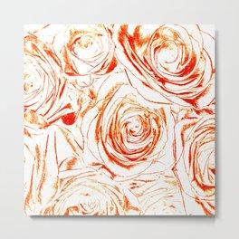 Roses // Wedding Flowers, Abtract Minimalist Art Metal Print