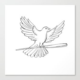 Pigeon or Dove Flying With Cane Drawing Canvas Print