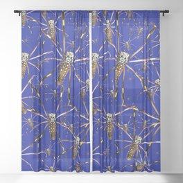 Watercolor Spider Crawl Lapis Sheer Curtain