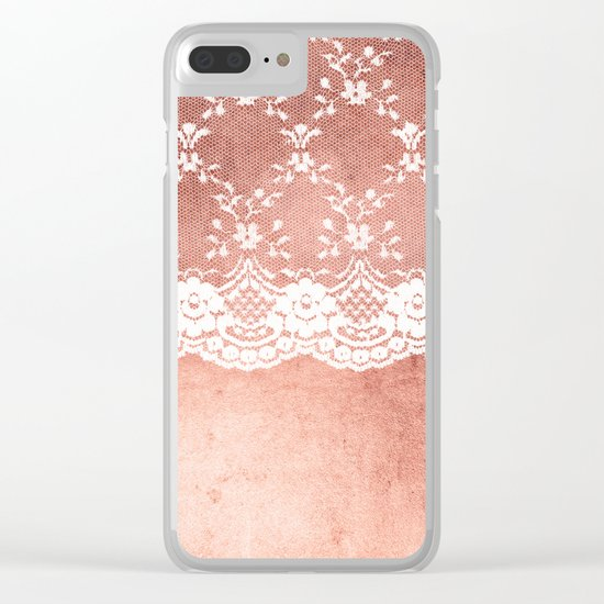 White floral luxury lace on pink rosegold grunge backround Clear iPhone Case