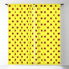 Burgundy Red on Electric Yellow Stars Blackout Curtain