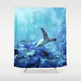 Sea Turtle Into The Deep Blue Shower Curtain