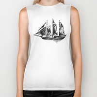 ship Biker Tanks featuring Ship by LeahOwen