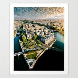 Aerial view of the Notre Dame in Paris Art Print