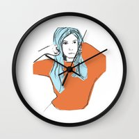 sweater Wall Clocks featuring Sweater Weather by Kelly Lindstrom