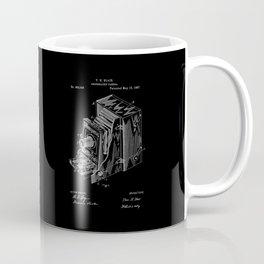 Vintage Camera Patent - White on Black Coffee Mug