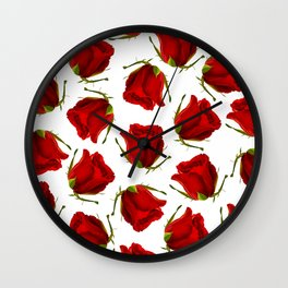 Romantic red green roses floral pattern Wall Clock