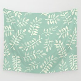 Painted Leaves - a pattern in cream on soft mint green Wall Tapestry