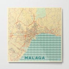 Malaga Map Retro Metal Print
