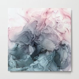 Blush and Payne's Grey Flowing Abstract Painting Metal Print
