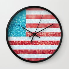 Red, White, and Glitter (Photo of Glitter) Wall Clock