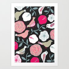 Birds and flowers Art Print