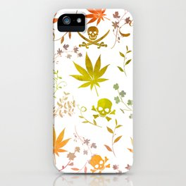 Skulls and Cannabis on White iPhone Case