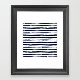 Navy Blue Stripes on White Framed Art Print