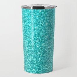 Aqua Blue Glitter Travel Mug