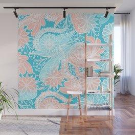 Artsy Summer Coral Aqua Hand Drawn Floral Pattern Wall Mural