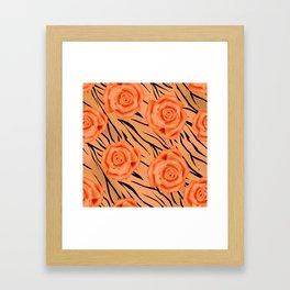 Orange roses on tiger pattern . Framed Art Print