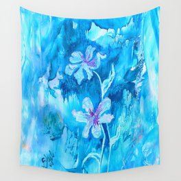 Blue encaustic flowers Wall Tapestry