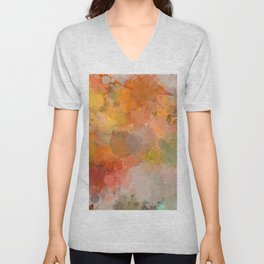 Modern contemporary Yellow Orange Abstract Unisex V-Neck