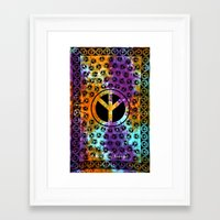 bedding Framed Art Prints featuring Peace Sign Hippie Tapestry Bedding in Bright Colored by Ved India