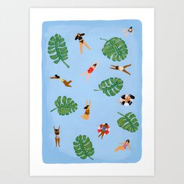 Floating in the sea Art Print