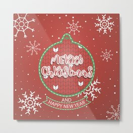 New Year Christmas winter holidays pattern with gifts, candys, christmas tree and toys, santa hat, s Metal Print