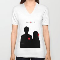 naruto V-neck T-shirts featuring He ♥ She by RaJess
