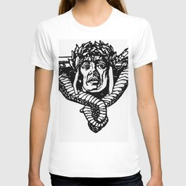 A tailpiece of an assassin's head and his sword T-shirt