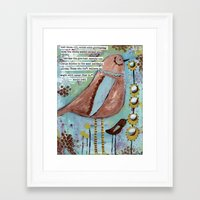 roald dahl Framed Art Prints featuring  birds with Roald Dahl quote, whimsical, flowers by sunshine girl designs