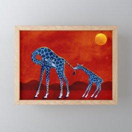 Blue giraffes Framed Mini Art Print