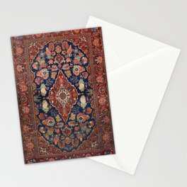 Persia Kashan Old Century Authentic Colorful Lattice Red Medallian Vintage Rug Pattern Stationery Cards