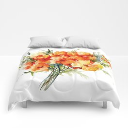 Californian Poppies, California Floral art soft colors Comforters