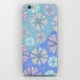 sea urchin blue watercolor iPhone Skin