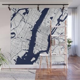 New York City White on Navy Wall Mural
