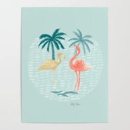 Flamingo Mingle Coral Poster
