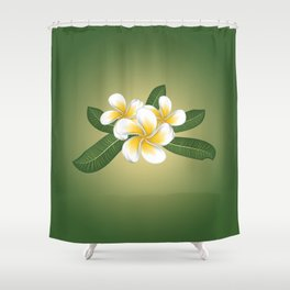 White plumeria Shower Curtain