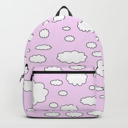 Pink sky with little clouds of caricatures Backpack