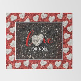 """Love You More"" Hawaii Beach with Coral Heart Photo Throw Blanket"