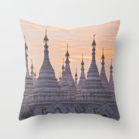 buddhism Throw Pillows featuring Sandamani Pagoda, Mandalay, Myanmar by Maria Heyens