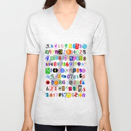 Colorful and Fun Depiction of Pi Calculated Unisex V-Neck