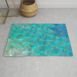 Sea Ocean Waves effect- Gold and Aqua Scales Pattern Rug