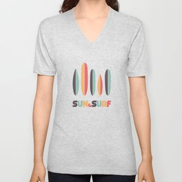 Retro Sun & Surf Surfboard Unisex V-Neck