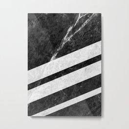 Black Striped Marble Metal Print