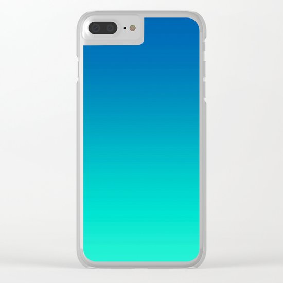 Teal Mint Ombre Clear iPhone Case