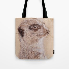 Meerkat Portrait - Drawing by Burning on Wood - Pyrography Art Tote Bag