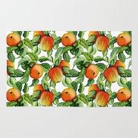 vegetarian Area & Throw Rugs featuring Ripe apples by Julia Badeeva