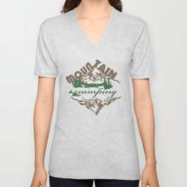 Camping in Mountain Unisex V-Neck