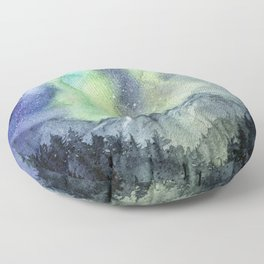 Galaxy Watercolor Forest Mountains Floor Pillow