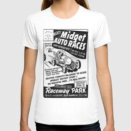 Midget Auto Races, Race poster, vintage poster, bw T-shirt