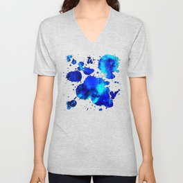 psychedelic color gradient pattern splatter watercolor blue Unisex V-Neck